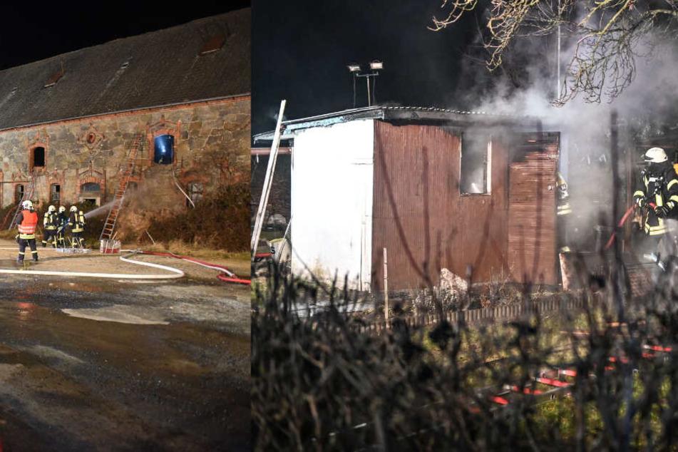 Brände durch Pyrotechnik? Kameraden löschen alte Scheune und Gartenlaube