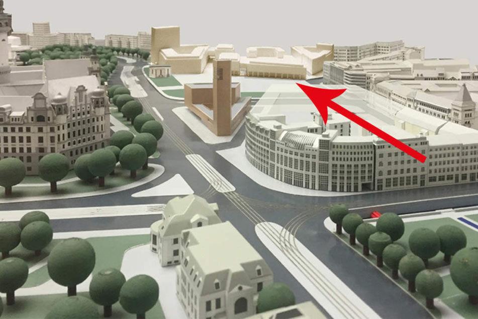 Der Masterplan zur Bebauung des Wilhelm-Leuschner-Platzes im Leipziger Zentrum steht.