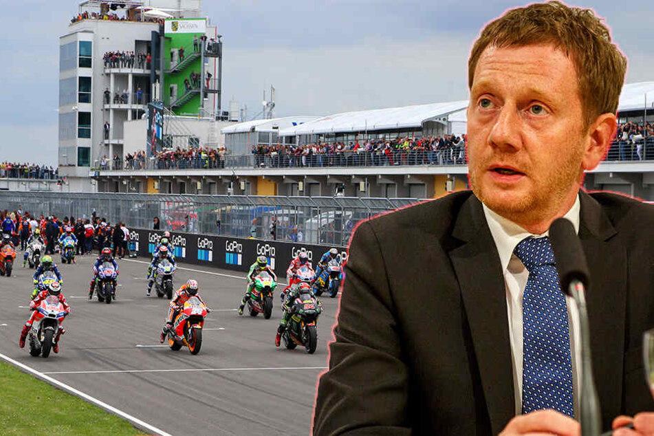 Michael Kretschmer äußert sich zur Zukunft des Motorrad-Grand-Prix auf dem Sachsenring. (Bildmontage)