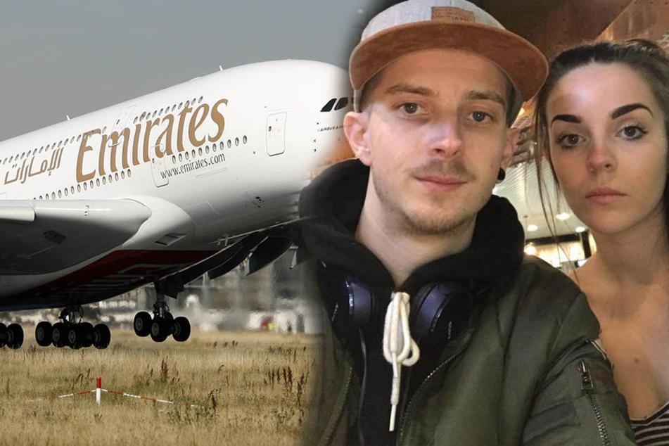 Beth Evans (24) und ihr Freund Joshua Moran (26) wollten eigentlich mit Emirates nach Dubai fliegen.