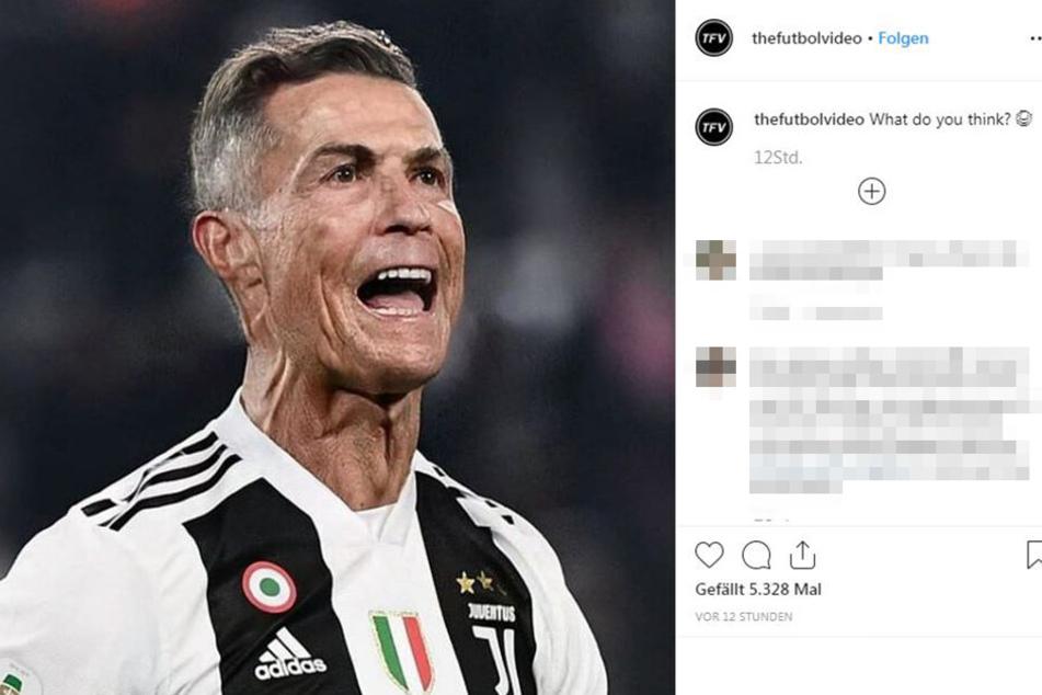 """Wohl immernoch fit wie ein Turnschuh, auch wenn """"thefutbolvideo"""" auf Instagram den fünffachen Champions-League-Sieger Cristiano Ronaldo optisch etwas altern lassen hat."""