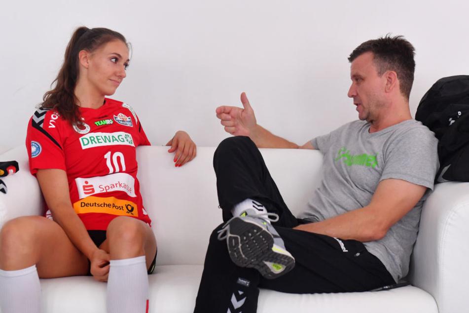 Lena Stigrot und Alex Waibl müssen zurzeit viel mit einander besprechen, um die Angreiferin ins Team zu integrieren und auf der Diagonal-Position zu testet.
