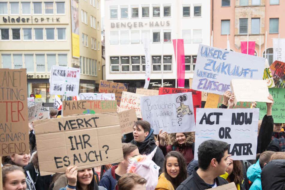"Klimaschutz-Demonstration ""Fridays for future"" Anfang März in Stuttgart."
