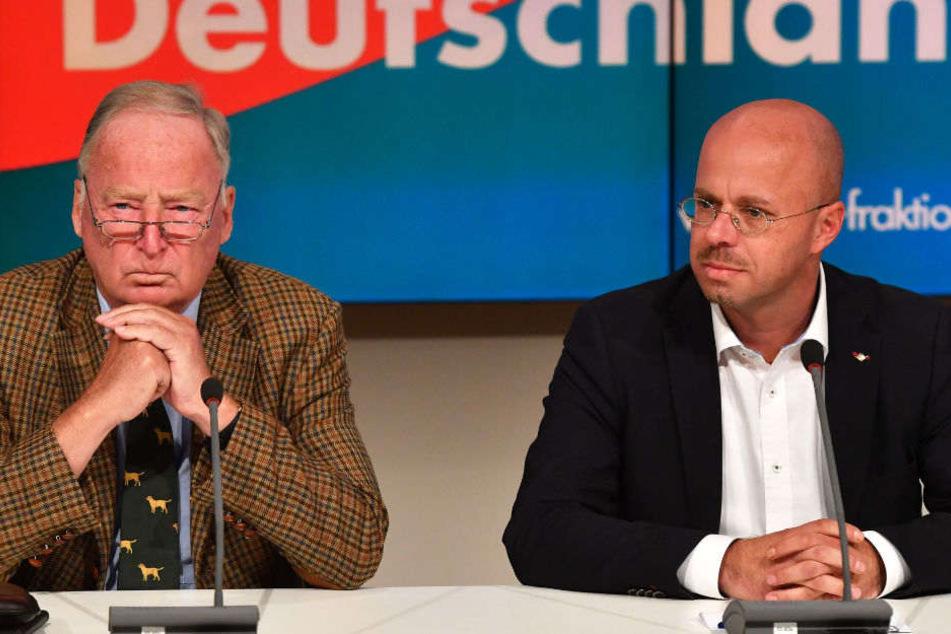 Alexander Gauland und Andreas Kalbitz auf einer Pressekonferenz. (Symbolbild)