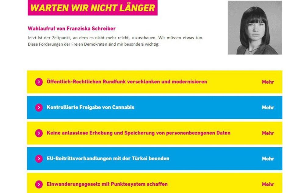 JA-Vorstand Franziska Schreiber ruft jetzt im Internet zur Wahl der FDP  auf.