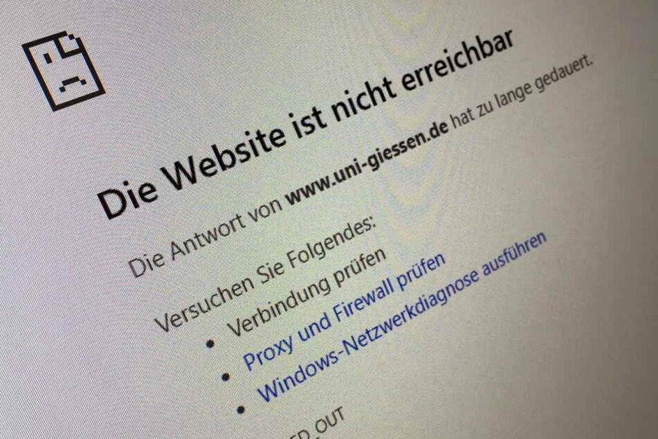 Die Webseite der Universität Gießen ist nach einem möglichen Hacker-Angriff nicht erreichbar.