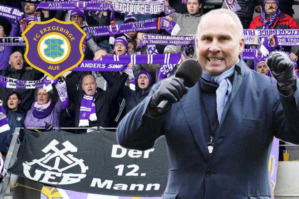 Aue-Präsident Leonhardt bedankt sich bei Fans