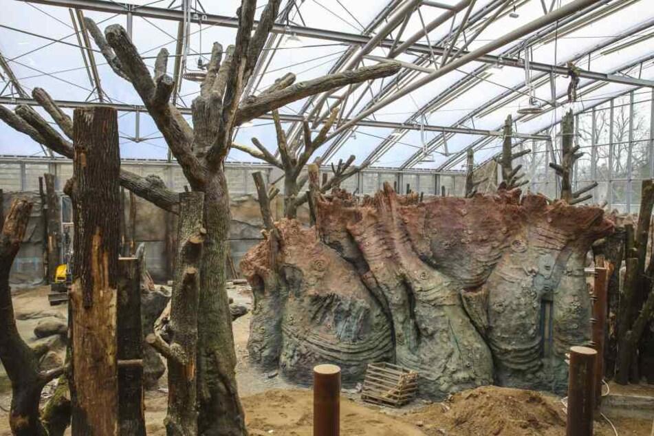 """Geschickt getarnt: Die """"Bäume"""" sind größtenteils aus Beton."""