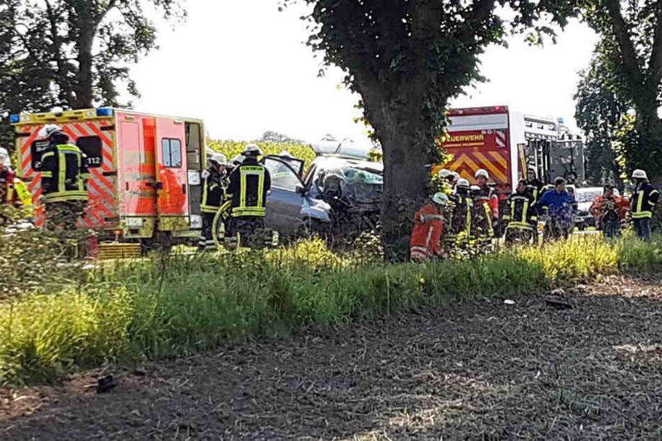 Auto kracht gegen Baum: Eingeklemmter Fahrer stirbt