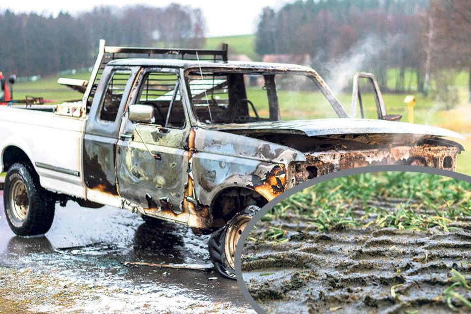 Auf einem Feldweg bei Rammenau brannte der Pick-Up komplett aus. Ermittler prüfen nun, ob auch die Reifenspuren vom Golfplatz zum Fahrzeug passen.