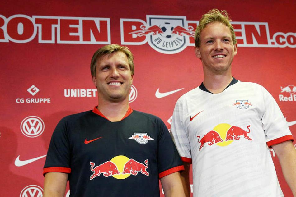 Das neue Duo bei RB Leipzig: Sportdirektor Markus Krösche (38, l.) und Trainer Julian Nagelsmann (31).