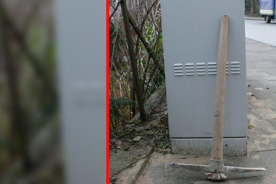 Diese Spitzhacke griff sich der Unbekannte von der Baustelle.