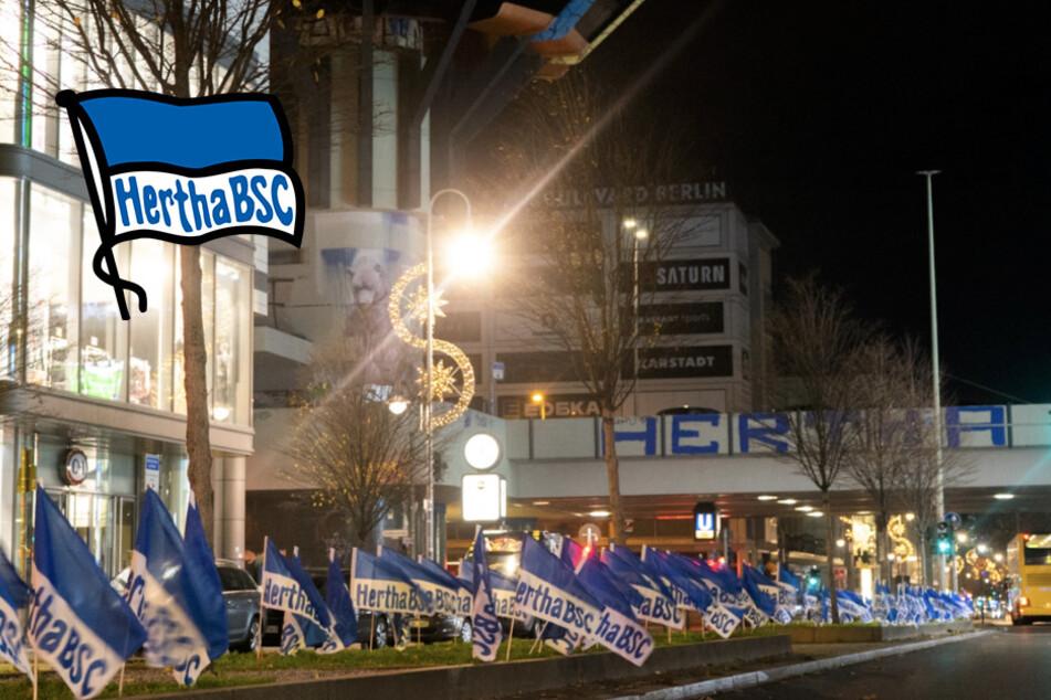 Irre Guerilla-Aktion vor Derby: Hertha verwandelt Berlin in Blau-weißes Fahnenmeer