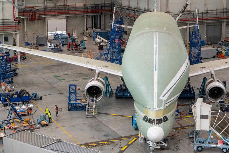 Das Flugzeug fällt durch die eigenartige ausgewölbte Hülle auf.