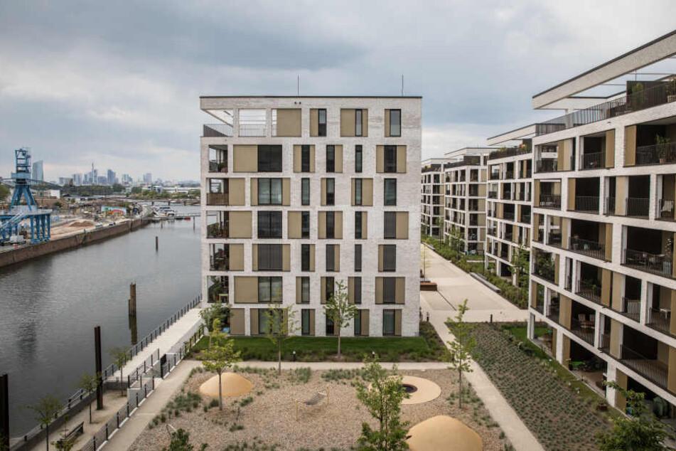 Das Hafenbecken in Offenbach ist ein beliebter Ort zum Wohnen.