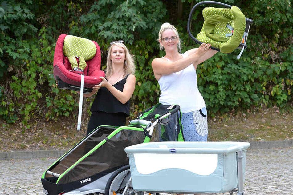 Praktischer Urlaubsservice: Madeleine Mieth (38, l.), hier mit Mitarbeiterin in spe Claudia Winkler (34), vermieten Kinderwagen oder Babyschalen.