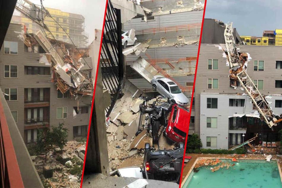 Kran stürzt auf Wohnblock: Toter, Verletzte und Trümmer