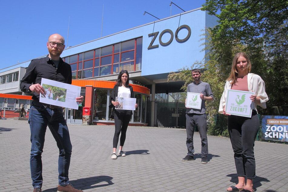 Petition für einen nachhaltigen und digitalen Zoo der Zukunft: Dietrich Kammer (37, v.l.), Margret Aurin (32), Konstantin George (33), Katharina Bachstein (32).