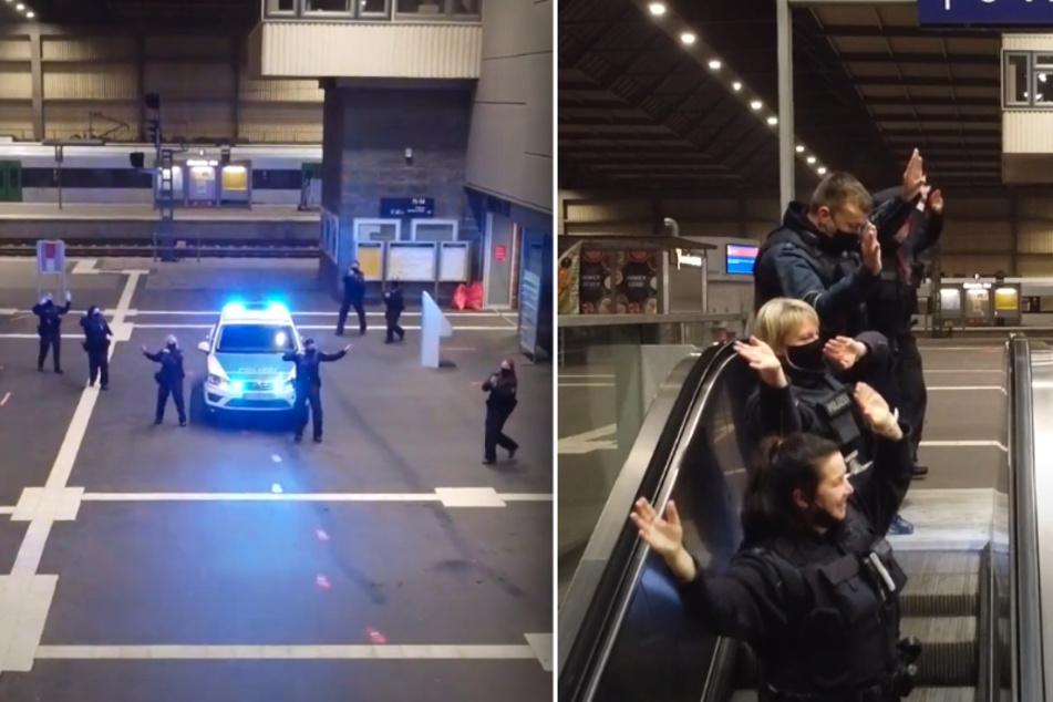 """Die Bundespolizei tanzt im Rahmen der """"Jerusalema Dance Challeng"""" im Chemnitzer Hauptbahnhof."""