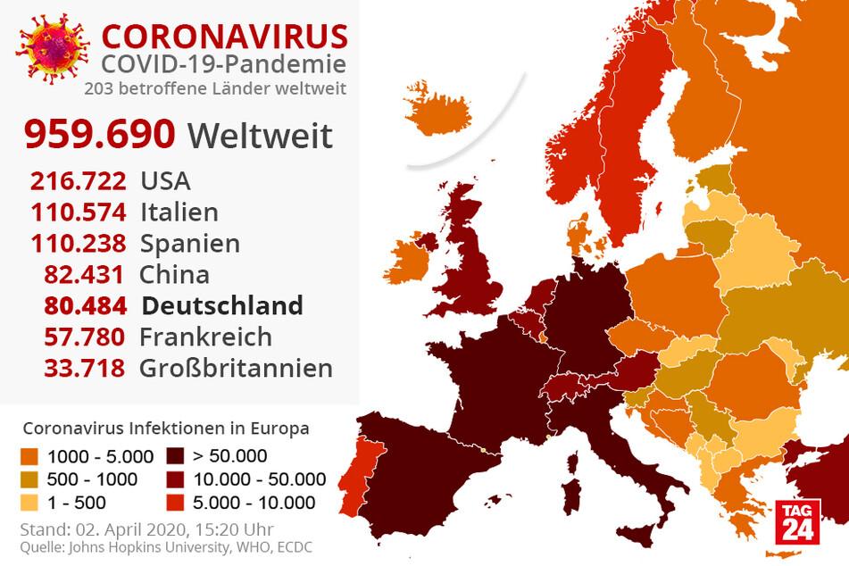 Die aktuellen Zahlen in Europa.