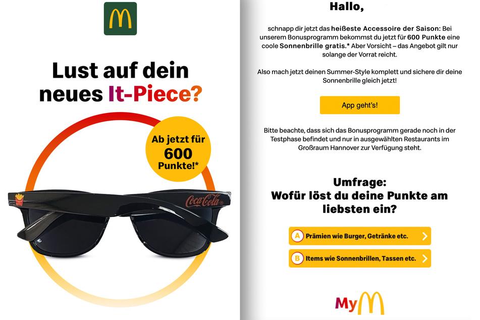 """McDonald's stellte """"dein neues It-Piece"""", das es für 600 Punkte gäbe, im Newsletter vor."""
