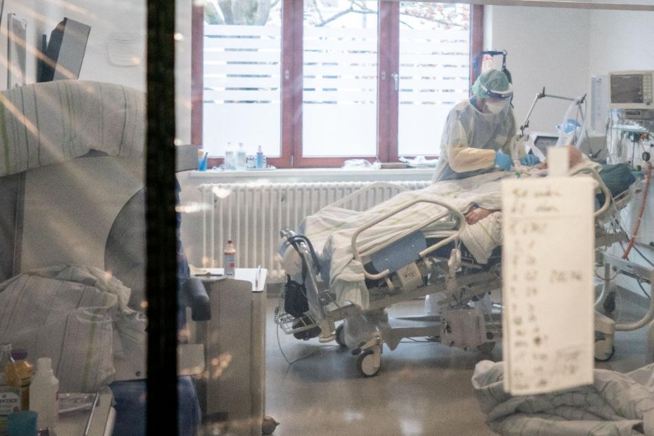 Ein Krankenpfleger behandelt einen Corona-Patienten auf der Intensivstation einer Klinik.