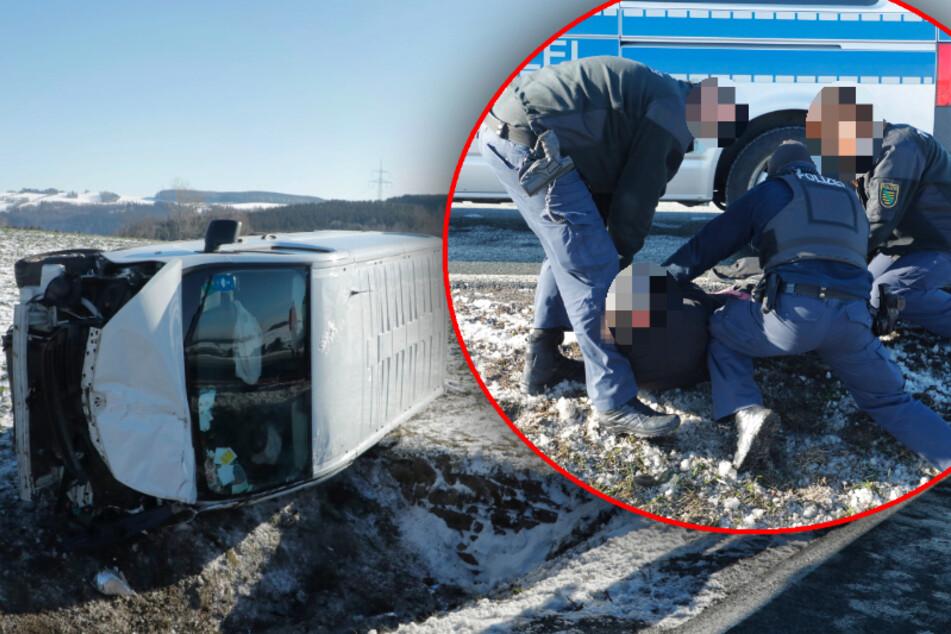 Chemnitz: Offenbar betrunkener Transporter-Fahrer baut Unfall, dann muss die Polizei durchgreifen