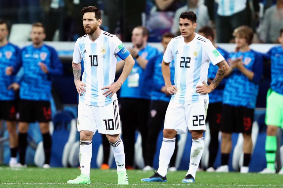 Cristian Pavon (24, r.) kam für Argentinien in allen vier WM-Spielen 2018 zum Einsatz und spielte dabei an der Seite von Superstar Lionel Messi (33).