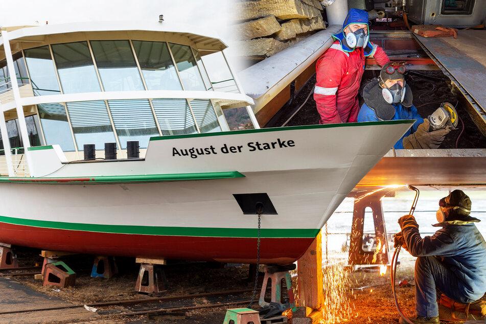 Salonschiff der Weißen Flotte nicht mehr ganz dicht: Not-OP am offenen Bauch