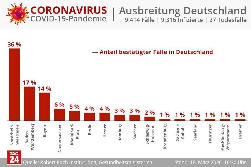 Die Aufteilung der Zahlen in Prozenten nach Bundesländern.
