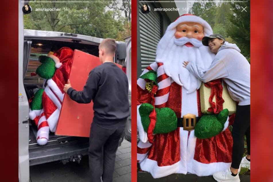 Amira Pocher (27) strahlte bis über beide Ohren und kuschelte sich an ihren XL-Santa.