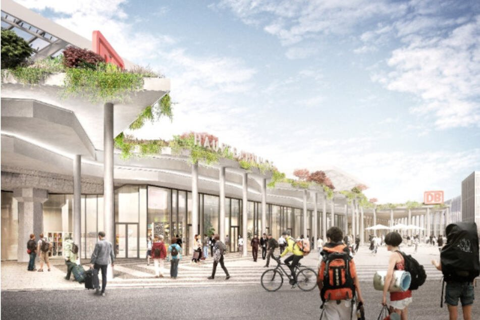 Ausblick auf die geplante neue Fassade am Kölner Hauptbahnhof. Am Breslauer Platz soll mehr Licht in das Gebäude gelangen.