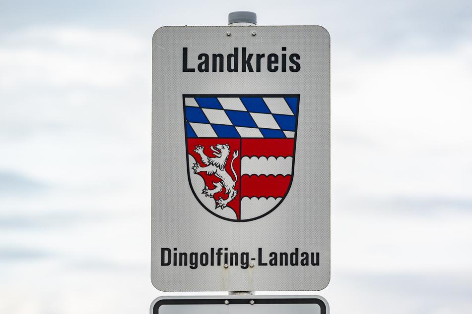"""Landkreis Dingolfing-Landau"" steht neben dem Wappen des Landkreises."