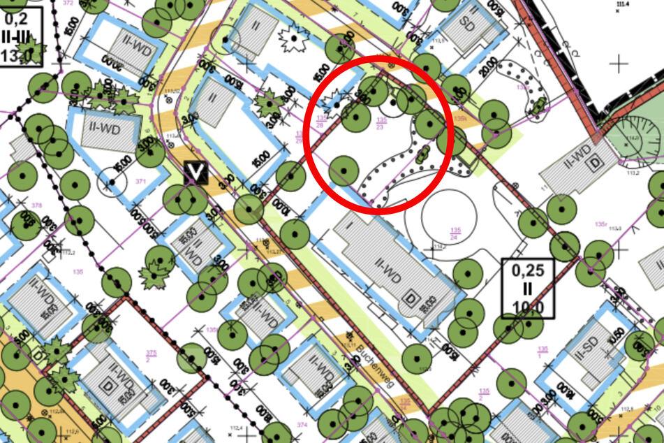 """Der Bebauungsplan """"Villen- und Siedlungsraum Raschwitz"""" soll an dieser Stelle (Kreis) manipuliert worden sein."""