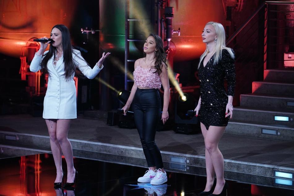 Chiara D´Amico (l.), Nicole Frolov und Lorna Hysa bei ihrem DSDS-Auftritt.