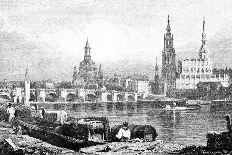 Blick von der Neustädter Seite: Ohne Flut war die Elbe eine Lebensader.