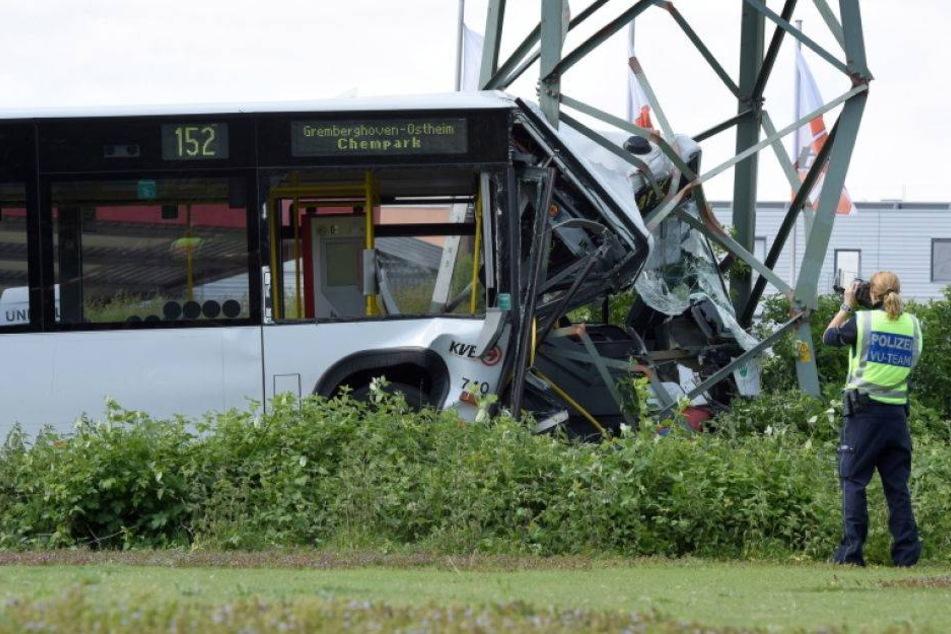 Bus kracht gegen Strommast - 21 Verletzte