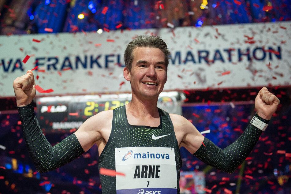 Arne Gabius beim Frankfurt Marathon 2018. Bis zum sportlichen Karriereende will er dort nochmal laufen.