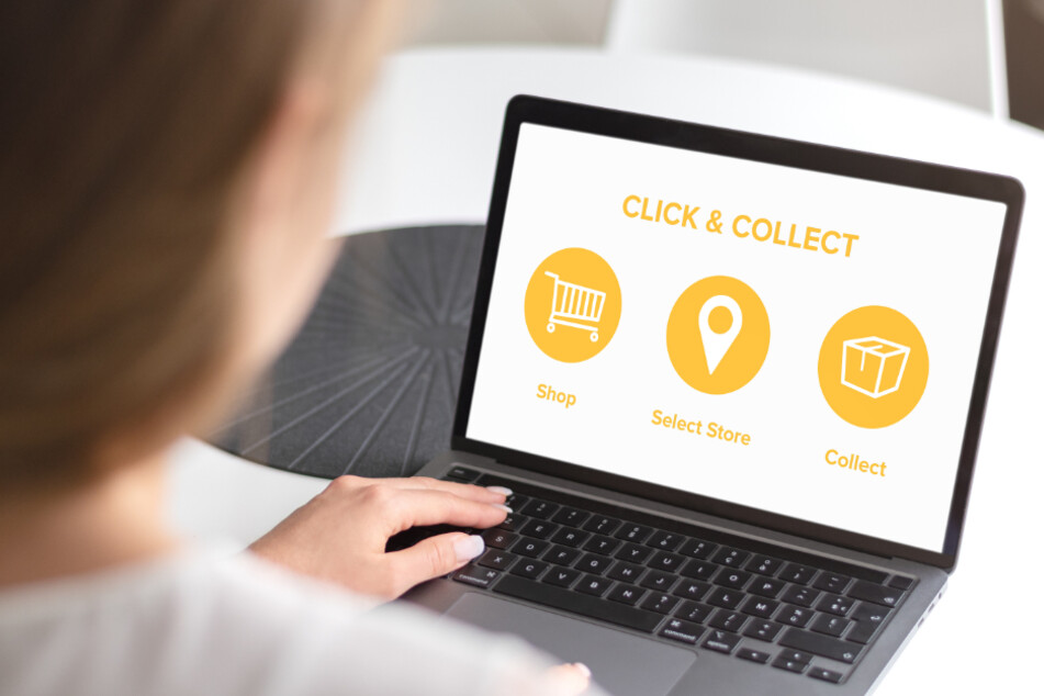 Das Bild veranschaulicht den Vorgang beim Click and Collect-System.
