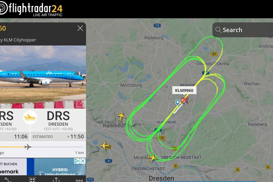 """Hier ein Bild von """"flightradar24""""."""