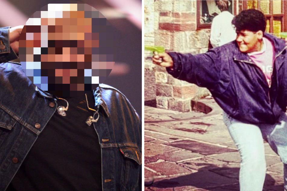 Welcher Rap-Star zeigt sich denn hier als Wasserpistolen-Gangster?