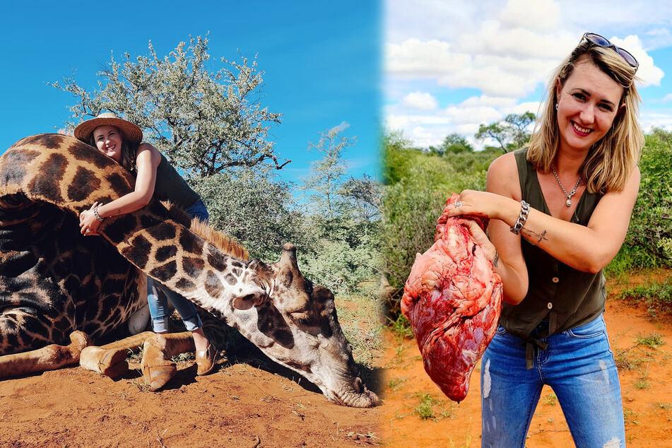 Nicht jeder freut sich so sehr über eine tote Giraffe wie die Hobby-Jägerin Merelize Van Der Merwe (32).