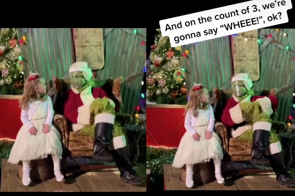The Grinch gives the girl instructions as he prepares for his prank.