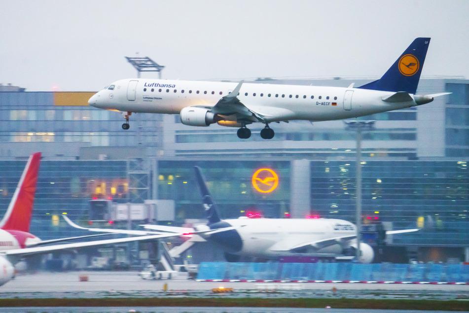 Ein Kurzstrecken-Jet der Lufthansa landet in Frankfurt. Innereuropäische Flüge sollen nach Scholz' Ansicht teurer werden (Symbolbild).