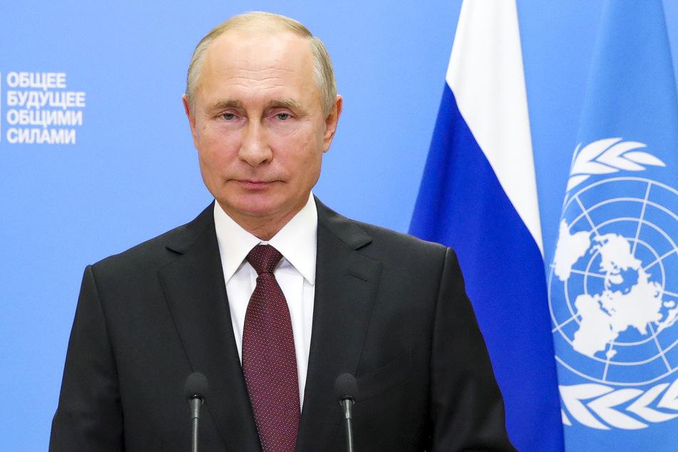 Wladimir Putin, Präsident von Russland, spricht während einer Aufzeichnung für eine Videobotschaft anlässlich des Beginns der Generaldebatte der 75. UN-Vollversammlung.