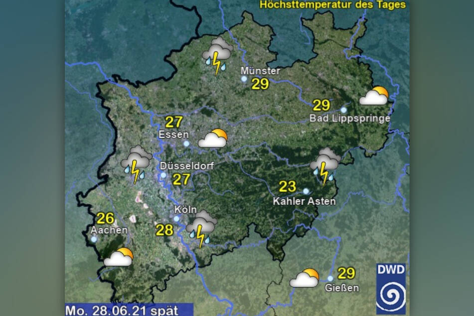 Am Montagabend werden vielerorts in Nordrhein-Westfalen heftige Gewitter erwartet.