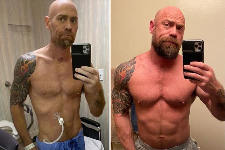 Mike Schultz war durchtrainiert (re.), dann erkrankte er mit dem Coronavirus und verlor innerhalb von sechs Wochen sehr viel Gewicht (li.).