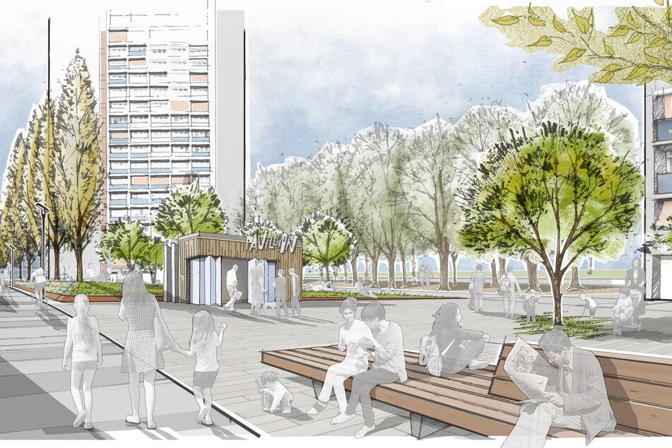 """Bäume, Bänke und ein Pavillon: So könnte der Park an der """"Prager"""" künftig aussehen."""