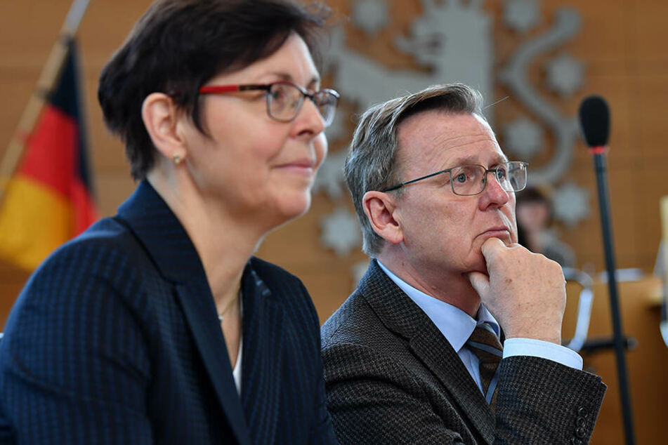 Finanzministerin Heike Taubert (58, SPD) und Ministerpräsident Bodo Ramelow (61, Linke)