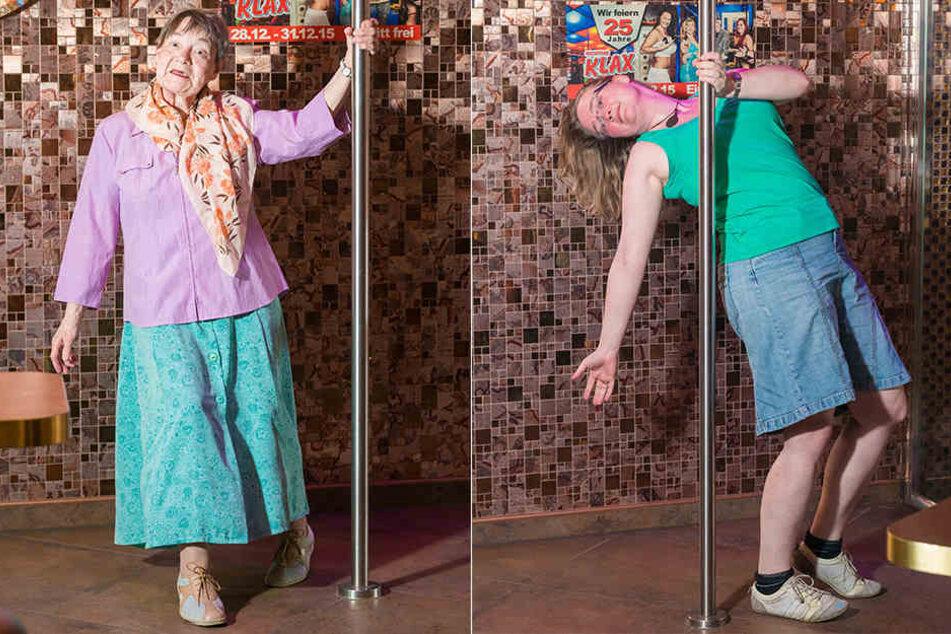 links: Die Älteste an der Stange: Helga (76). Wie viel sie auszieht, darf sie (wie jeder Kandidat) selbst entscheiden. rechts: Elisabeth (31) erfüllt sich mit dem Strip einen lang gehegten Traum.